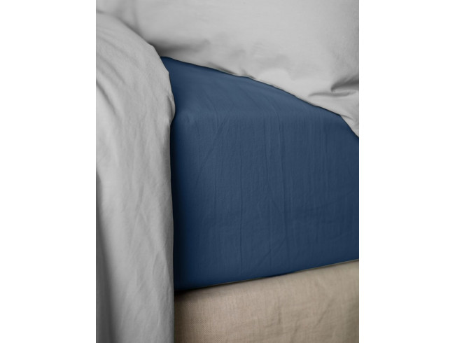vente priv e linge de lit drap housse percale bleu nuit. Black Bedroom Furniture Sets. Home Design Ideas