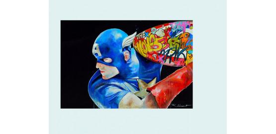 """Peinture à l'huile """"Captain Americart"""""""