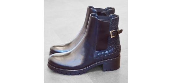 Boots Latin croco noir