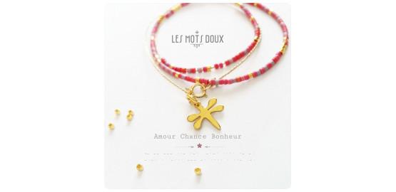 """Collier """"Amour Chance Bonheur"""" en morse"""