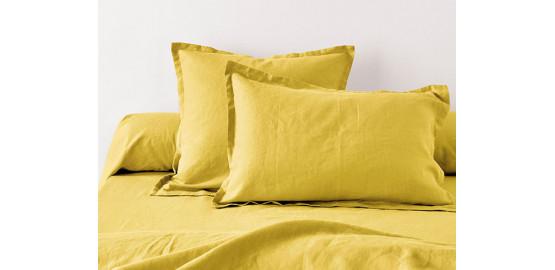 Taie d'oreiller lin métis, jaune moutarde