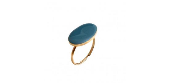 Petite bague ovale bleue en étain recouvert d'émail Little Woman Paris